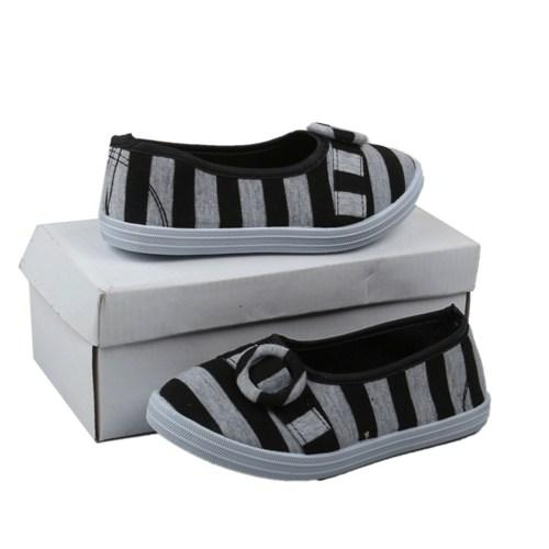 Viny Black/Gray Stripe Textile Girl's Dress Shoe