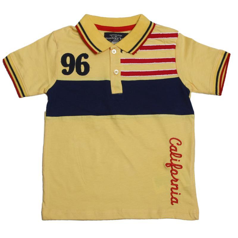 Machiko Yellow/Navy Boys Polo