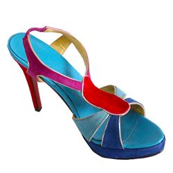 Prag Blue /Red Suede Ladies Elastic Stiletto Heel Shoe