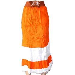 Caribbean Orange/White Cotton Elastic Waist Band Ladies Skirt