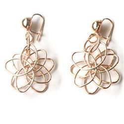 Gold Slim Flower Shape Drop Fashion Earrings