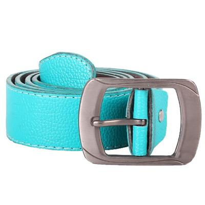 Blue Leather Ladies Belt Wt Dark Silver Buckle -