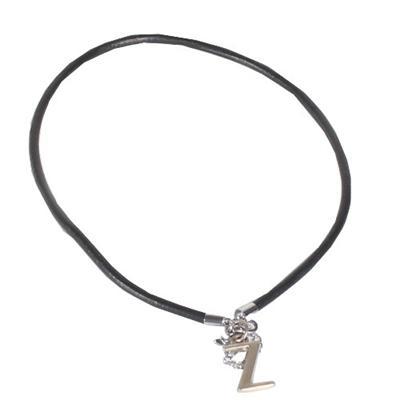Black Leather Rope Men's Necklace wt Silver  Z Pendant