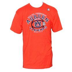 The Victory Orange Cotton Blue Print Men's T-Shirt