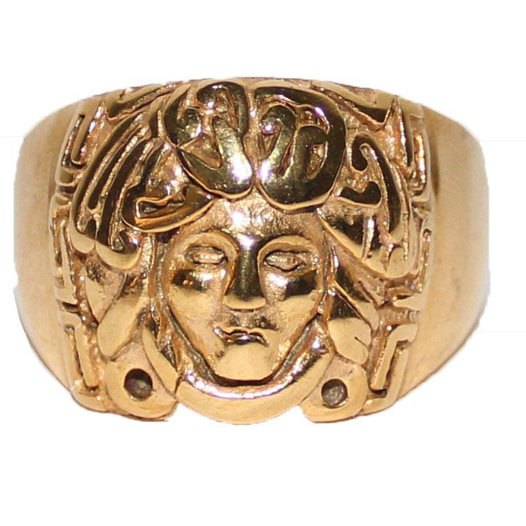 Versace Gold Round Medusa Head Bishop Ring