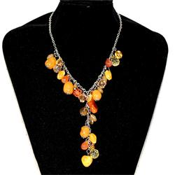 Fashion Orange/Yellow Mix Ladies Beaded Necklace