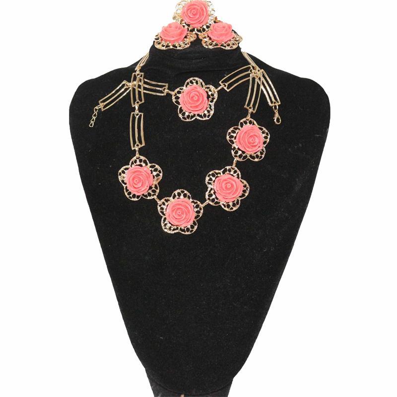 Fashion Orange/Gold Rose Jewelry Set