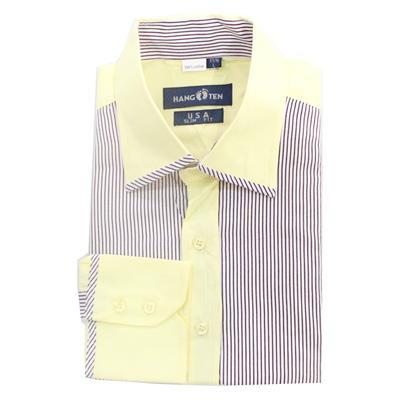 Hang Ten Yellow/Wine Cotton Stripe Formal L/Sleeve Shirt