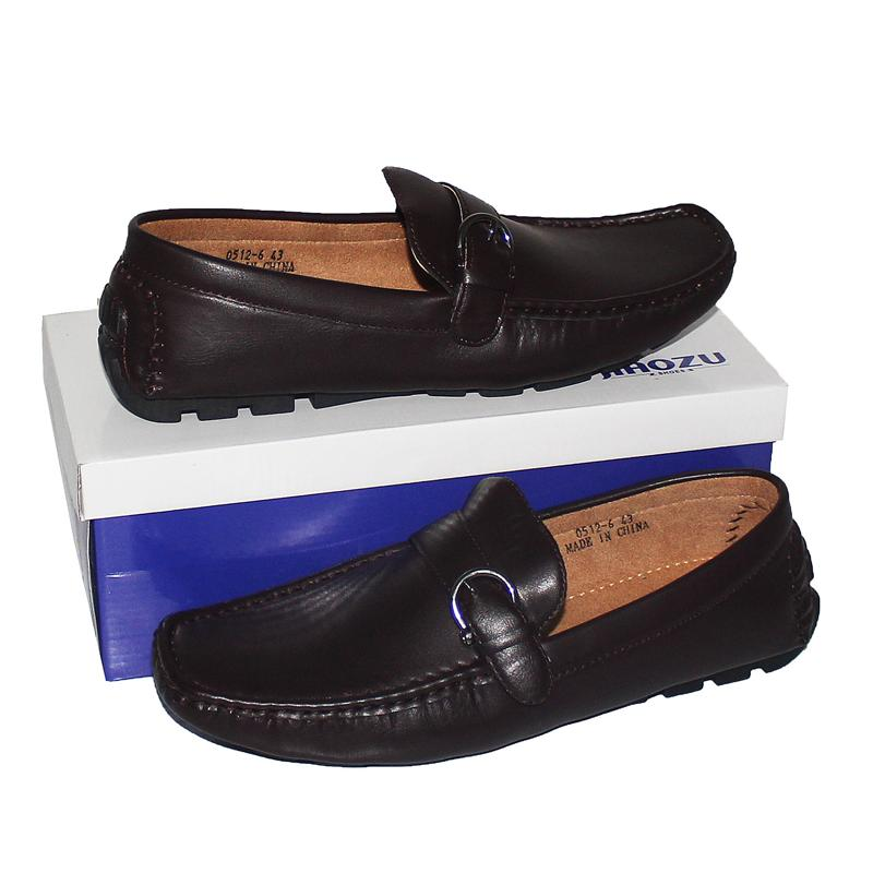 JZ Coffee Leather Buckle Men's Loafers