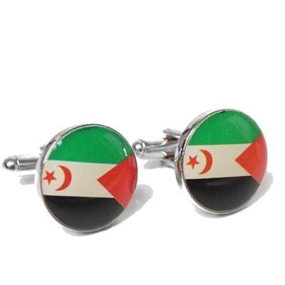Silver Country Flag Design Round Cufflink (Without Box)