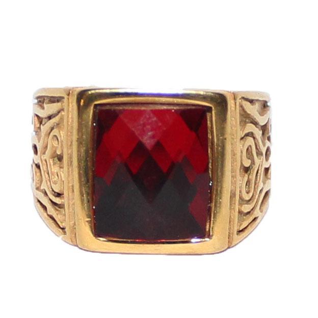 Gold/Red Square Stone Bishop Ring