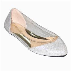 Aldo Silver Glitters Leather Ladies Flat Shoe
