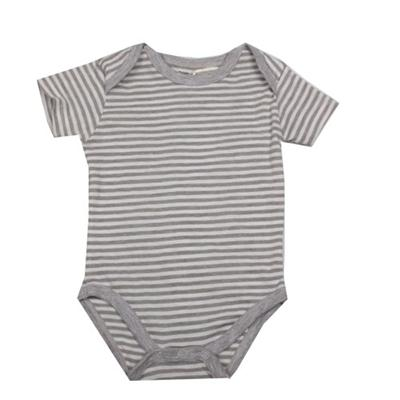 Caters Gray/White Strip Baby Romper