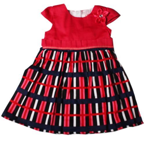 Vogue Pink/Blue/Black Stripe Girls Dress wt Shoulder Flower