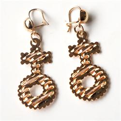 Gold Circle/Cross Shape Drop Fashion Earrings