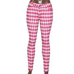 Usy Pink/White Diamond Pattern Ladies Jeggings