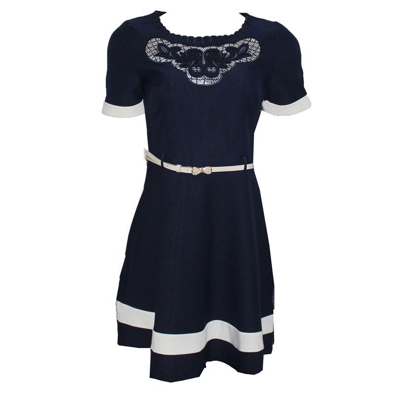 Svesso Navy Patterned Neck Cotton  Skater Dress
