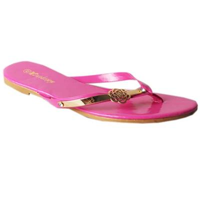 WD Brown Leather Ladies Flat Slippers