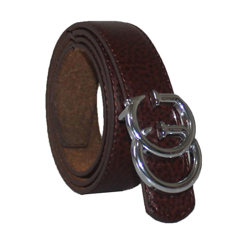 GG Brown Leather Silver Buckle Men's Belt