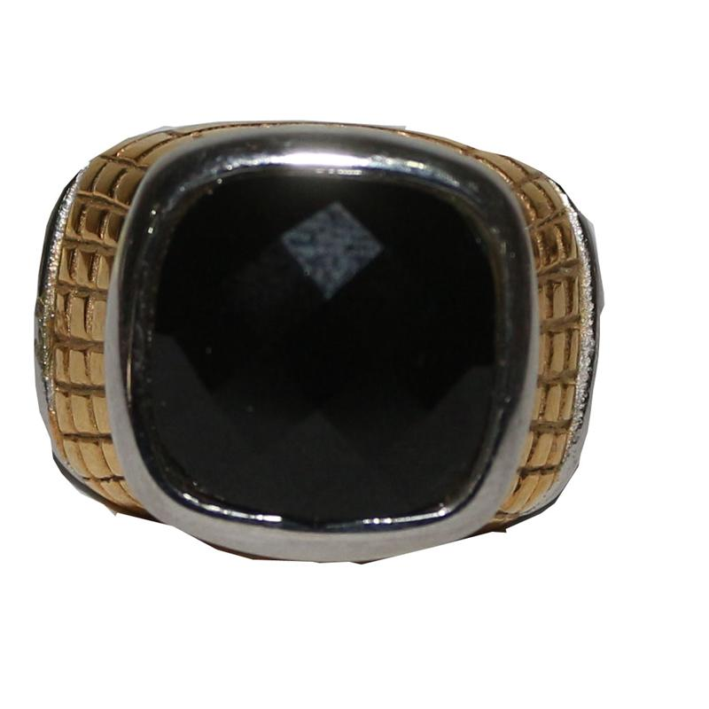 Silver/Gold Bishop Ring With Black Stone