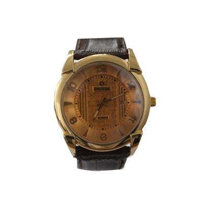 Mont Blanc Brown Leather Golden Round Face Men's Watch