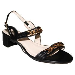Siader Black Leather Chain Design Low Heel Sandal