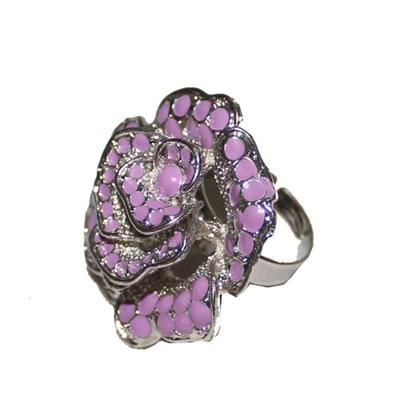 Fashion Silver  Rose Ring wt Purple Dotted Design