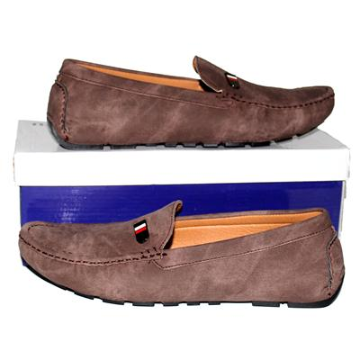 Jiaozu Brown Nubuck Leather Men's Loafers