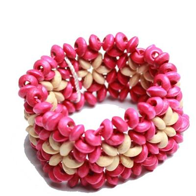 Juelz Pink/Cream Wooden Bracelets