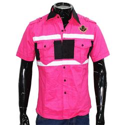 Pink/Black/White Cotton S/Sleeve  Shirt