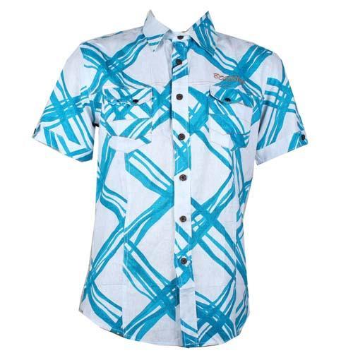 Bossini White/Blue ShortSleeve Mens Casual Shirt