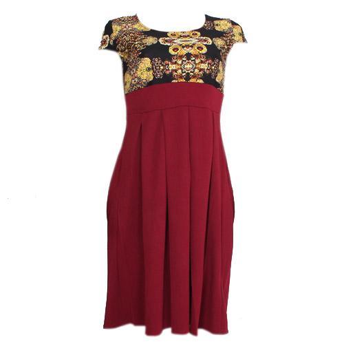 Wine Cotton Skater Ladies Dress