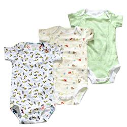 Next Green/White/Cream Mix Cotton 3-In-1 Kids Rompers