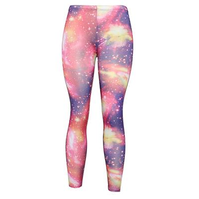 Pingfa Pink/Purple/Yellow Cotton Ladies Leggings