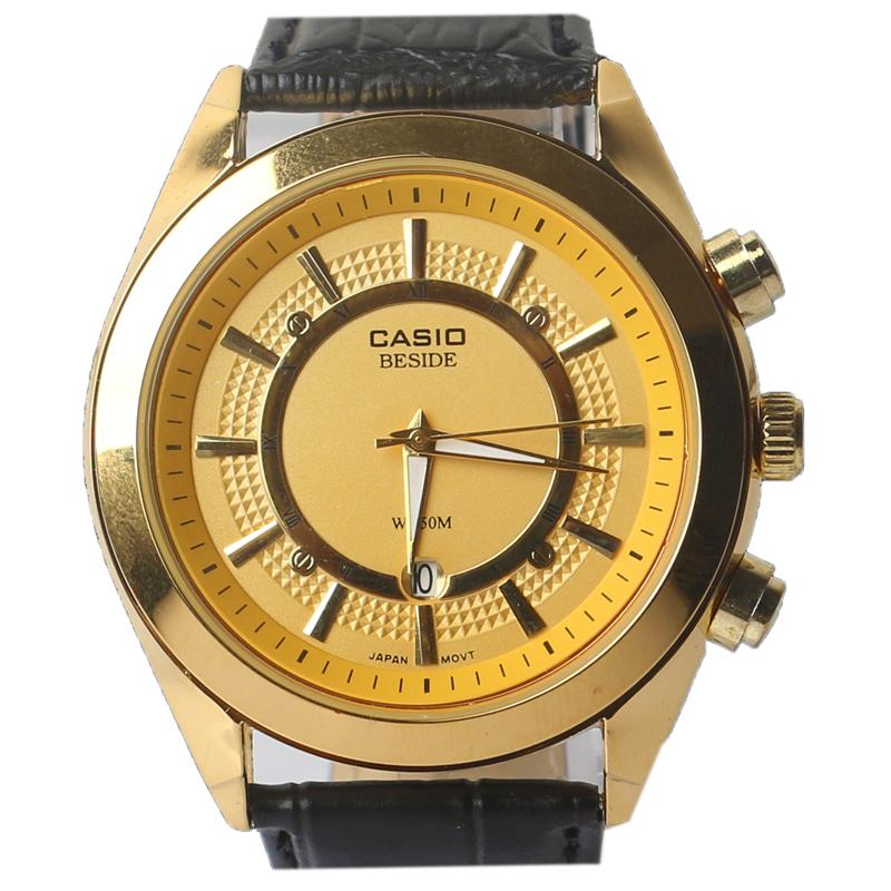 Casio Black Leather Men's Wristwatch Wt Gold  Face