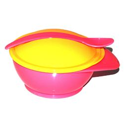 Baby Love Pink/Yellow Plastic Weaning Bowl Wt Heat Sensor Spoon Set