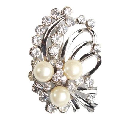 Juelz Silver Brooch wt Cream Beads & Silver Studs