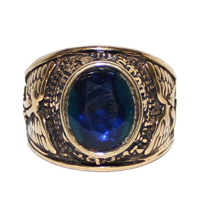 Army Bronze/Navy Stone Bishop Ring