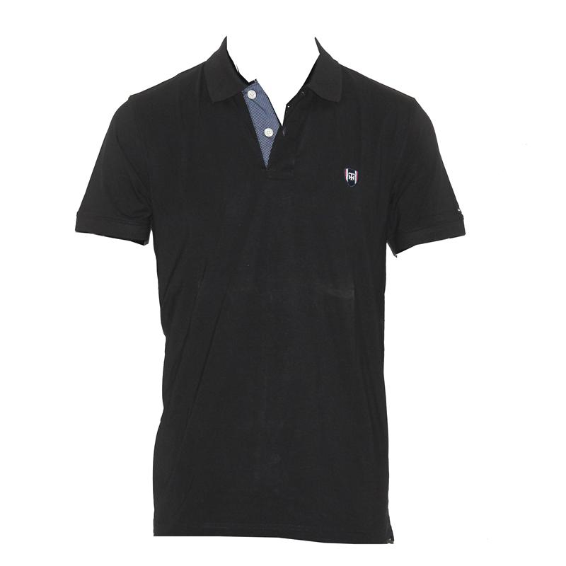 Tommy Hilfiger Black Cotton Small Badge Men's Polo