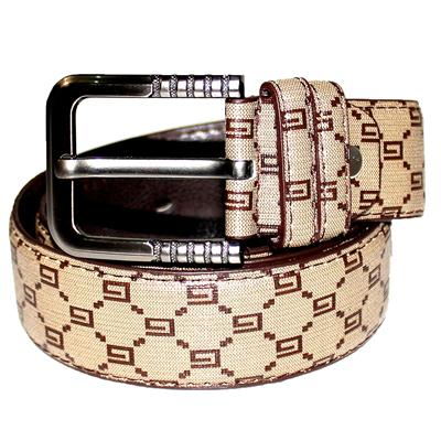 Brown/Dark Brown G-Printed Leather Brass Buckle Men's Belt