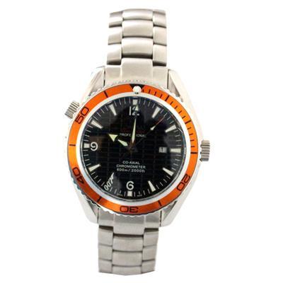 Omega Stainless Steel Men's Watch Wt Orange Trim