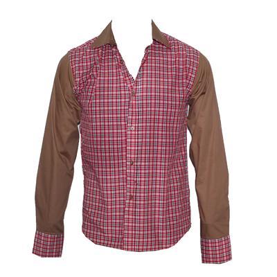 TM Lewin Red/White Check Brown Collar L/S Men's Shirt