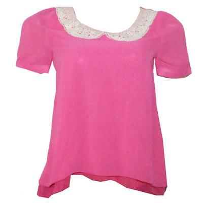 Yuxifushi Pink/Cream Wt Woven Net Desgn Chiffon Ladies Top