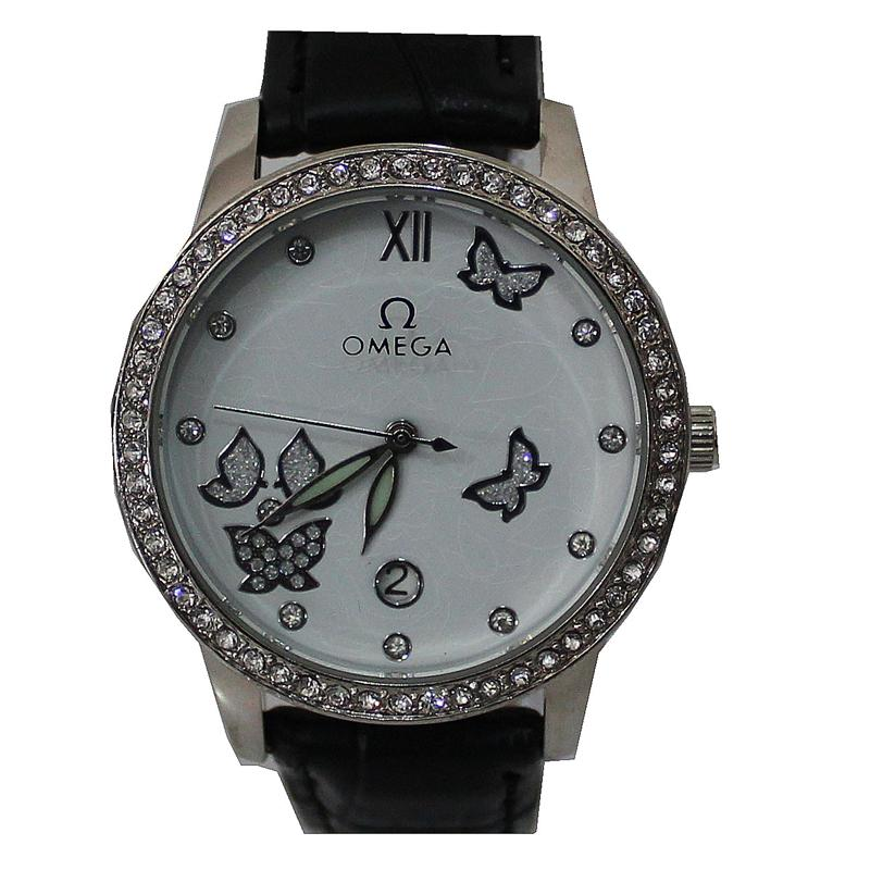 Omega Black Leather Silver Studded Rim Ladies Watch