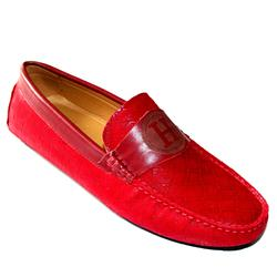 Hermes Red Suede Pattern Men's Loafer