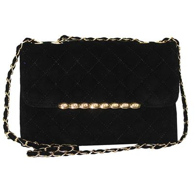 Fashion Black Suede Stud Detailed Ladies Slingbag