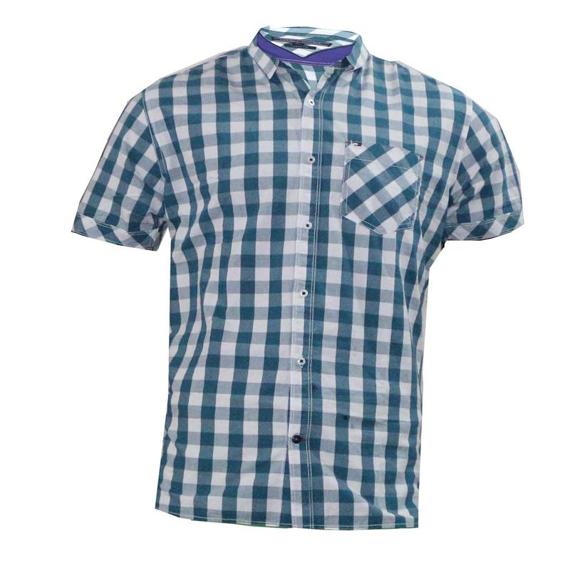 Tommy Hilfiger Green/White Check Cotton Men's Short Sleeve Shirt