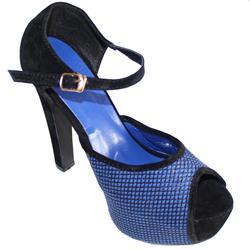 Aldo Blue/Black Suede Ladies Peep Toe High Heel Buckle Sandal