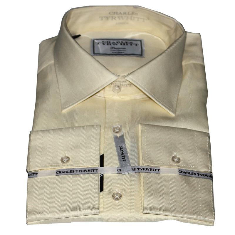 Charles Tyrwhitt Cream Cotton Men's Premium Shirt