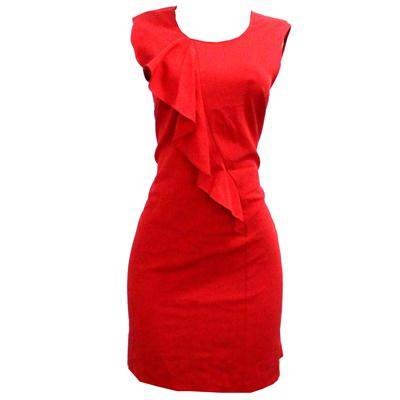 Nine West Red Cotton Slant Pleated Design Armless Ladies Dress